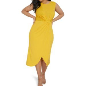 ELOQUII Yellow Drape Front Midi Dress